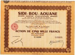 SIDI BOU AOUANE Tunisie Exploitations Minières ACTION 5000 FRANCS Complet - Afrique