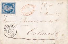 11738# LETTRE POIDS VERIFIE 7,40 Grammes Obl PC ENSISHEIM 1861 T15 HAUT RHIN ALSACE - Marcophilie (Lettres)