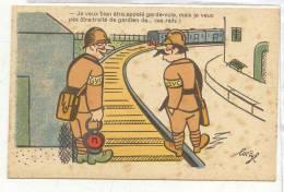 23681 LUC CYL Humour Militaire PC Paris M-52 Garde Voie Traité Gardien Rails Train