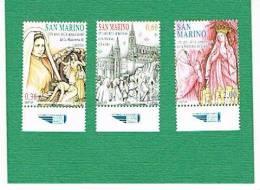 SAN MARINO - UNIF. 2180.2182    -    2008  150^ ANNIV. APPARIZIONI MADONNA DI LOURDES     -  NUOVI ** - Unused Stamps