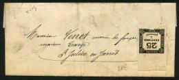 LOIRE: Pli Avec 25c TAXE CARRE Bord De Feuille Sans Oblt Au Dos CàDate Type 16 St CHAMOND (84) > St JULIEN - 1849-1876: Période Classique