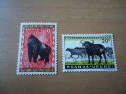Ruanda-Urundi: 2 Werte Tiere  (1959) - Ruanda-Urundi
