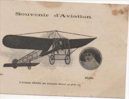L'AVIATEUR  BEARD  SUR MONOPLAN BLERIOT  EN PLEIN VOL  SOUVENIRTIE D´UN AVION - Aviateurs