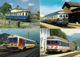 AUTRICHE OBB Autorails Pour Lignes Scondaires Lot De 4 CPM Détails  2ème Scan - Trains