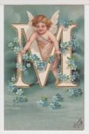 Carte Gauffrée ALPHABET Lettre M, Ange Et Fleurs Bleues (angel, Angelo) - Anges