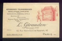 8047 - CARTE DE VISITE COMMERCIAL DOUBLE PARIS INSTALLATIONS ROTISSERIE TOURNE BROCHE   - COMME TOUJOURS PRIX 1 EURO - Non Classés