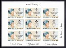 Maldives MNH Scott #874 Imperf Minisheet Of 9 4r Queen Mother - 80th Birthday - Maldives (1965-...)