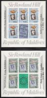 Maldives MNH Scott #853-#854 Set Of 2 Imperf  Minisheets Of 5 Plus Labels Overprinted ´London 1980´ - Maldives (1965-...)