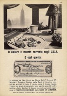 # BANK OF AMERICA - TRAVELER'S CHEQUES 1950s Car Italy Advert Pub Pubblicità Reklame Banca Assegni Cheque Reiseschecks - Cheques & Traveler's Cheques