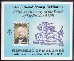 Maldives MNH Scott #855 Souvenir Sheet 10r Sir Rowland Hill - Overprinted ´London 1980´ - Maldives (1965-...)