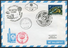 1969 Austria Pro Juventute Charity Ballonpost Flight Wien Ersttag Maria Neustift Moon Landing Space Rocket - Covers & Documents