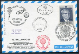 1969 Austria Pro Juventute Charity Ballonpost Flight Wien Ersttag Franz Jonas Moon Landing Space Rocket - Covers & Documents