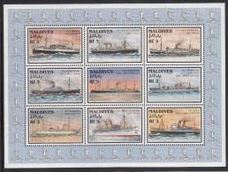 Maldives MNH Scott #2227 Minisheet Of 9 Different 3r Ships - Maldives (1965-...)