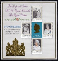 Maldives MNH Scott #2404 Souvenir Sheet Of 4 Different 7r Queen Mother´s 100th Birthday - Maldives (1965-...)