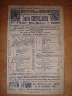 Buvard Publicitaire 1900 - Timbres Postes EMILE CHEVILLARD Paris - Papeterie