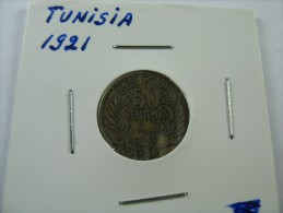 TUNISIA TUNISIE 50 CENTIMES HALF  FRANC 1921 1340 AH SCARCE KEY DATE  COIN NICE GRADE SEE PICTURES  LOT 18 NUM  10 - Tunisie