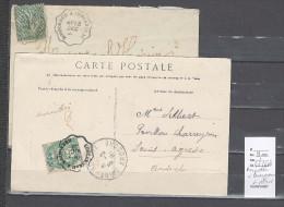 Lettre Convoyeur Rosporden à Concarneau Et Retour - 2 Piéces - Postmark Collection (Covers)