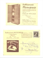 "Carte Postale Pré Imprimée - "" MICROPRESS"" + Carte De Visite - BRUXELLES 1955 (sf3) - Visitekaartjes"
