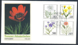 Flora Flowers Trees - Germany Berlin 1980 Fdc - Orlaya Grandiflora, Gagea Villosa, Adonis Aestivalis, Legousia Hybrida - Orchideen