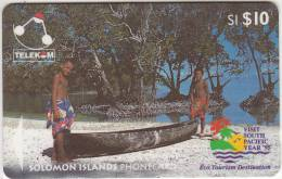 """SOLOMON ISL.(GPT) - Canoe From Sikaiana/Malaita Province(Visit South Pacific Year """"95), CN : 03SIC, Used"""