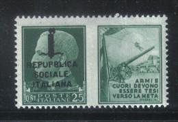 """BIN114 - R.S.I. , Propaganda Il 25 Cent Varietà """" REPUPBLICA """"  ***  MNH - 4. 1944-45 Repubblica Sociale"""