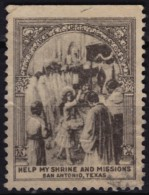 USA San Antonio TEXAS - Help Shrine & Missions / Christianity - Charity Stamp / Label / Cinderella - Used - Christianity