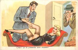 Carrière  Humour Chéri Je Te Présente Mon Masseur Pin Up 1956  Illustrateur N° 2224 - Carrière, Louis