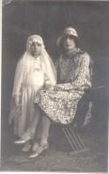 NIÑA EN TRAJE DE COMUNION CON SU MADRE FOTOGRAFIA GRIGNASCI A NOVARA PIEMONTE AÑO 1928 - Novara