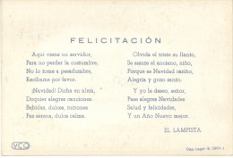 RARE EL LAMPISTA TARJETA DE NAVIDAD LIMPIAVIDRIOS MADRID ESPAÑA AÑO 1954 PROPINA DE NAVIDAD NOEL CHRISTMAS XMAS - Cartes De Visite
