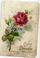 Chocolat POULAIN - Chromo Gaufrée - Relief -Fleur, ROSE - Poulain