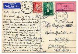 NORVEGE - Carte Postale EXPRES Depuis Oslo - Affranchissement Composé - PLM Avion A 1953 - Norvège