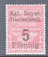 BAVARIA  28 A  * BAYRISCHE STAATSEISENBAHNEN   Wmk   Crosses In Circles - Beieren