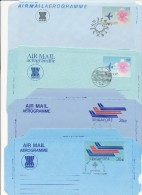SINGAPORE - 9 Aerogramme - Different Backsides   -  Big Letter , Dispatch =  4,20 EURO - Singapore (1959-...)