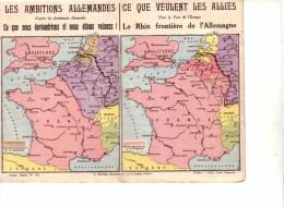 CPA Double  FRANCHISE MILITAIRE 1914 / 1918 -Ligue Des Patriotes - Les Ambitions Allemandes CARTE DE FRANCE - Guerre 1914-18
