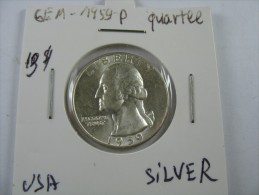 US USA 1 ONE QUARTER DOLLAR 25 CENTS SILVER 1959 COIN GEM HIGH GRADE LOT 18 NUM 19 - Émissions Fédérales