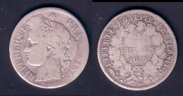 Monnaie Fautée 2 F CERES 1871 A Coin Fissuré - France
