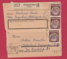 ALLEMAGNE //  COLIS POSTAL //  DE RODENKIRCHEN  //  8/2/1943 - Allemagne