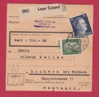 ALLEMAGNE //  COLIS POSTAL //  DE LUGE // POUR KOCHERN  //  18/8/1943 - Allemagne