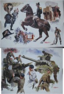 : reproduction d'aquarelles du peintre des arm�es ROSEMBERG cadre noir et EAABC)  &