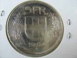 SWITZERLAND SWISS 5  FRANCS   SILVER 1954  B TONED TO BLACK   LOT 18  NUM  29 - Suisse