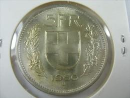 SWITZERLAND SWISS 5  FRANCS   SILVER 1966  B HIGH GRADE   LOT 18  NUM  30 - Suisse