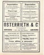 Publicités Import Export Osterrieth Anvers Antwerp Thane San Francisco Belgique Scan Recto Verso1921 - Publicités
