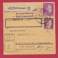 ALLEMAGNE  //  COLIS POSTAL  //  DE BAD KREUZNACH 1  //  POUR EBRING //  19/5/43  // - Allemagne