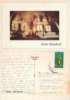 Abu Simbel, Egypt Postcard Used Posted To UK 2005 Stamp - Abu Simbel Temples