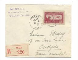 Poste Aérienne 1f50, TULLE Corrèze, 26.09.1930, Seul Sur Lettre Recommandée Pour Le Maroc - Brieven En Documenten
