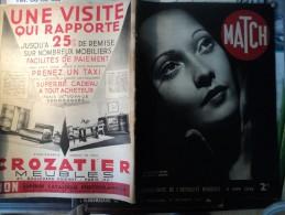 MATCH DU 8 JUIN 1939. LE MARIAGE SECRET DE MERLE OBERON... PUB MEUBLES CROZATIER AU 4° PLAT / TORONTO A SALUE LA REINE - Journaux - Quotidiens