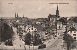 ! Alte Postkarte Aus Basel, Straßenbahn, Tramway, Steinentorstrasse, Steinenvorstadt, Schweiz, Suisse - BS Bâle-Ville