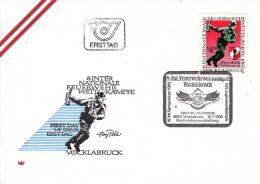 """1985, FDC """"8. Internationale Feuerwettkämpfe Vöklabruck 1985"""" M. Schmuckkuvert U. Sst. - Feuerwehr"""