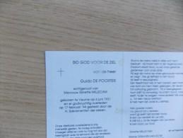 Doodsprentje  Guido De Poorter Veurne 6/6/1931 - 17/2/1994 ( Ginette Millecam ) - Religione & Esoterismo