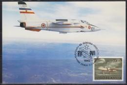 3963. Yugoslavia, 1987, Aeronautical Day, Commemorative Card - 1945-1992 Socialist Federal Republic Of Yugoslavia